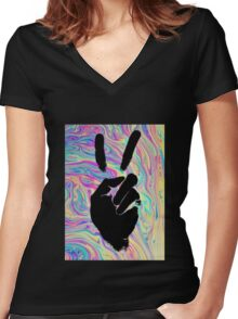 psychedelic peace sign Women's Fitted V-Neck T-Shirt
