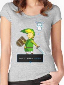 King of the Hill - Link from Zelda and Navi - Parody - Dang it Bobby, listen! Women's Fitted Scoop T-Shirt