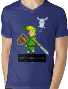 King of the Hill - Link from Zelda and Navi - Parody - Dang it Bobby, listen! Mens V-Neck T-Shirt