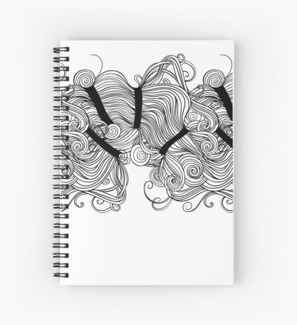 Drawn in ink. Long hair. Spiral Notebook