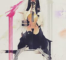 Still Waiting - Girl with Violin by Galen Valle