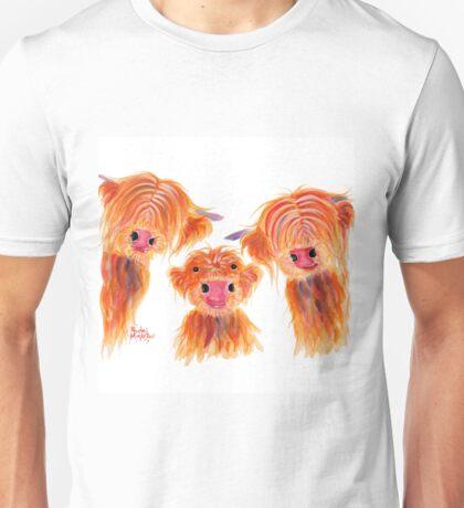 Highland Cows 'The 3 Waldos' by Shirley MacArthur Unisex T-Shirt