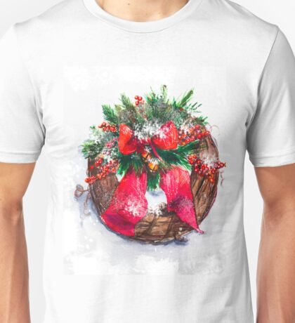 Christmas wreath - watercolor. Unisex T-Shirt