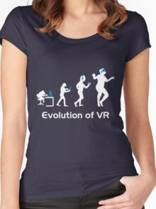 Evolution of Man Virtual Reality VR Funny Gaming Top Women's Fitted Scoop T-Shirt