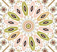 Ornamental round colorful geometric pattern in aztec style by tomuato