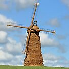 Jodrel Bank and Windmill made of Hay Bales by AnnDixon