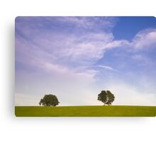 Green field blue sky and trees Canvas Print