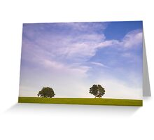 Green field blue sky and trees Greeting Card