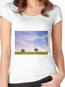 Green field blue sky and trees Women's Fitted Scoop T-Shirt
