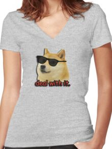 Doge deal with it dog meme Women's Fitted V-Neck T-Shirt