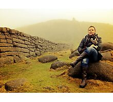 Portrait of a Man and his dog Photographic Print