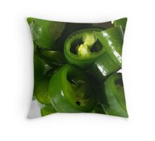 Sliced Green Chilli Throw Pillow