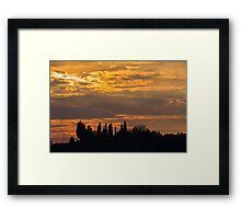 sunset on the hilly Framed Print