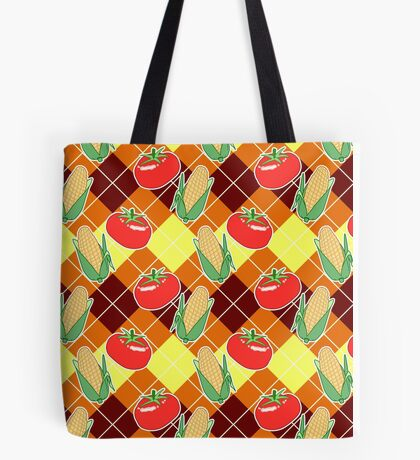 Corn and Tomato Argyle Pattern Tote Bag
