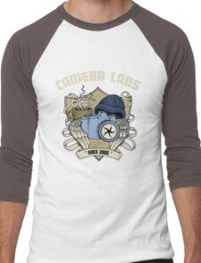 Cameralabs Photography Crest (Camera, Coffee, Beanie) Men's Baseball ¾ T-Shirt