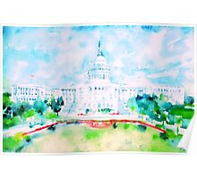 UNITED STATES CAPITOL - watercolor portrait Poster