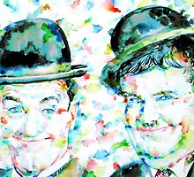 LAUREL and HARDY watercolor portrait by lautir