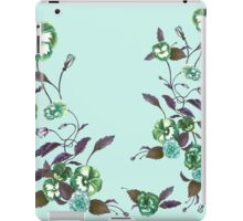 Pansies in Green and Indigo on Sky Blue iPad Case/Skin