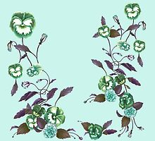Pansies in Green and Indigo on Sky Blue by ThistleandFox