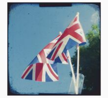 Flags - Union Jacks in a blue sky by gailgriggs
