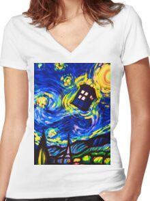tardis starry night work art  Women's Fitted V-Neck T-Shirt
