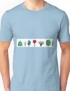 Seven trees paintings isolated on white background Unisex T-Shirt