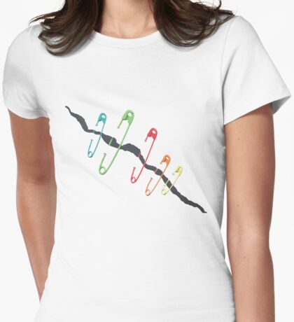Safety Pin Movement - Rainbow Safety Pins Heal the Divide Womens Fitted T-Shirt