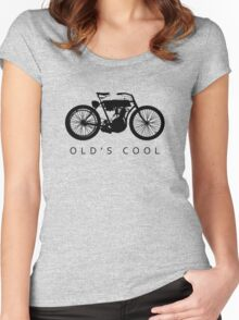 Old's Cool - Vintage Motorcycle Silhouette (Black) Women's Fitted Scoop T-Shirt