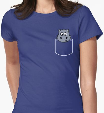 Pocket Animal Cartoon, Cute Hippo Womens Fitted T-Shirt