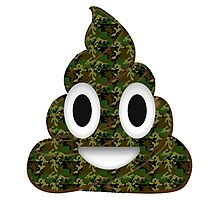 Funny Emoji Poo Poop Military Hunter Hunting Camouflage Camo Army Soldier Veteran Emoticon Photographic Print