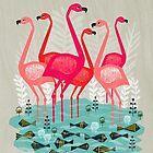 Flamingos by Andrea Lauren  by Andrea Lauren