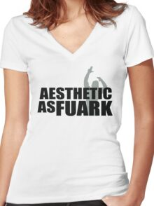 Zyzz Aesthetic as FUARK Women's Fitted V-Neck T-Shirt