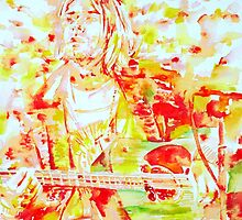 KURT COBAIN playing the GUITAR.3 - watercolor portrait by lautir