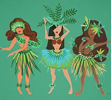 Luau Girls on Mint by Cat Coquillette