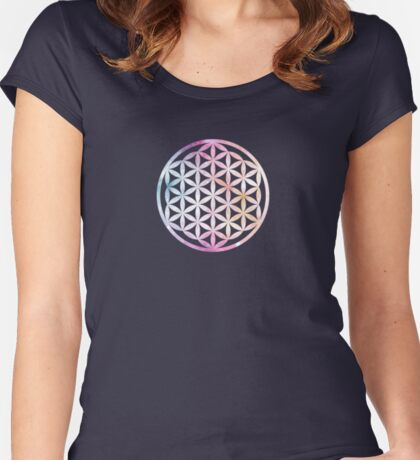 Flower of Life | Cosmos Sacred Geometry Women's Fitted Scoop T-Shirt