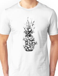 Black and White Sliced Pineapple Graphic Print Unisex T-Shirt