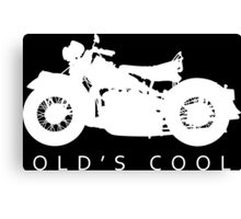 Old's Cool - Vintage Motorcycle Silhouette (White) Canvas Print