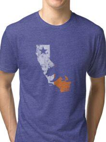 California State Map Irish Flag Tri-blend T-Shirt