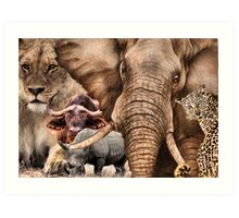 "A COLLAGE OF AFRICA'S ""BIG 5"" -  Art Print"
