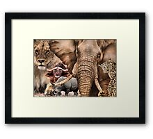 """A COLLAGE OF AFRICA'S """"BIG 5"""" -  Framed Print"""