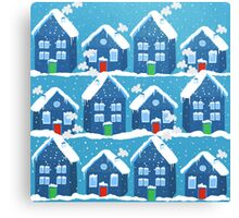 Winter In The Village Canvas Print