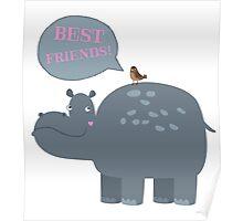 Best friends hippo and bird Poster