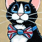 Looking Smart - Patriotic Tuxedo Cat by Lisa Marie Robinson