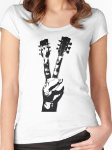 Peace Sign Guitar Fingers Women's Fitted Scoop T-Shirt