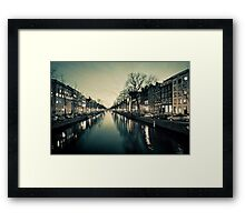 Amsterdam Canal Street view at Night Framed Print