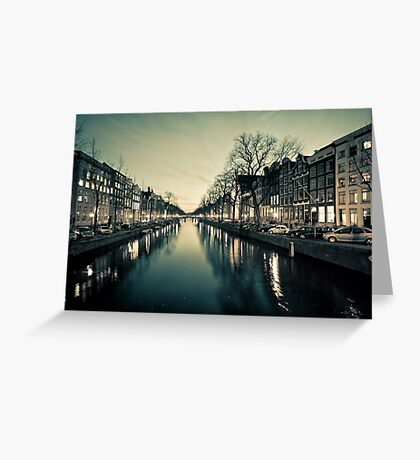 Amsterdam Canal Street view at Night Greeting Card