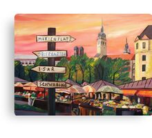 Munich Bavaria Viktualienmarkt with Signposts Canvas Print