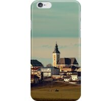 Small village skyline with mint sky | landscape photography iPhone Case/Skin