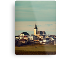 Small village skyline with mint sky | landscape photography Metal Print