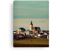 Small village skyline with mint sky | landscape photography Canvas Print